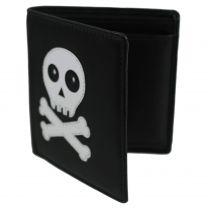 Mens Boys Black Compact Leather Skull & Cross Bones Wallet by Mala Change