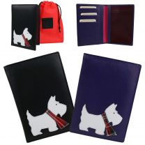 Ladies Leather Passport Holder by Mala; Best Friends Collection Scotty Dog