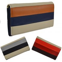 Ladies Flap Over Leather Purse/Wallet by Mala; Burchell Collection Stripes