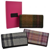 Ladies Flap Over Leather & Tweed Purse/Wallet by Mala; Abertweed Collection Wool