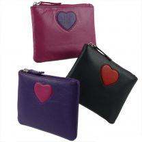 Ladies Leather Zip Compact Coin Purse by Mala Leather; Pinky Collection Handy Heart
