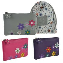 Ladies Leather Compact Coin Purse by Mala; Cara Collection 3D Flowers Handy