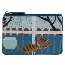 Ladies Leather Ginger Tabby Cat Coin Purse by Mala Zipped Handy