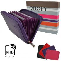 Soft Leather RFID Protection Concertina Credit Card Purse by Mala Origin Gift Boxed