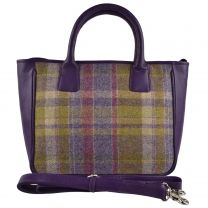 Ladies Leather & British Tweed Grab Bag by Mala; Abertweed Collection Handbag