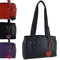 Ladies Leather Classic Shoulder Bag by Mala; Anishka Collection Twin Handle