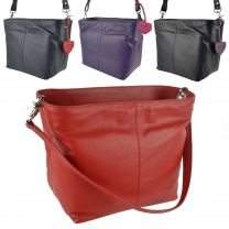 Ladies LEATHER Double Strap Bucket Bag by Mala; Anishka Collection Shoulder