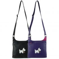 Ladies Leather Cross Body Bag by Mala; Best Friends Scotty Dog Collection Shoulder Handbag