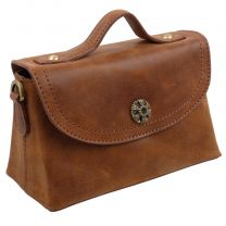 Ladies Girls Mini Grab Bag Mala Vintage Tan Leather Tudor Collection