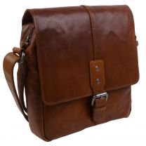 Rowallan of Scotland Mens Leather Messenger Bag in Brandy