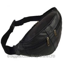 NEW Quality Mens Ladies Black LEATHER Waist BUMBAG by OAKRIDGE Fanny Pack Travel