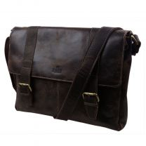 Mens Distressed Brown Leather Messenger Bag by Rowallan of Scotland Brushwood