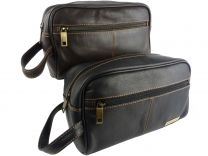 Mens Quality Leather Slimline Wash Bag by Rowallan of Scotland Travel