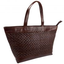 Rowallan Ladies Cognac Braided Leather Twin Handle Tote Bag with Zip Closure