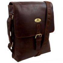 Rowallan Mens Half Flap Tanned Leather Messenger Bag - Cognac