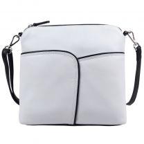 Ladies Leather Cross Body Shoulder Bag by Ili New York White & Black