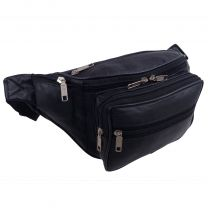Mens Ladies Leather Black Waist Bumbag Travel by Oakridge