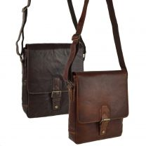 Mens Buffalo LEATHER North South Cross Body BAG By PrimeHide Shoulder