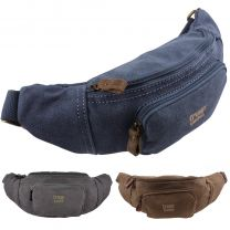Troop London Canvas & Leather Bum Waist Bag/Fanny Pack