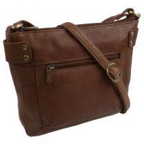 Ladies Soft Leather Small Classic Cross Body Handbag Bag by GiGi Mid-Brown