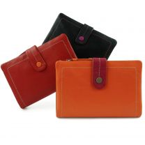 Ladies Leather Soft Tabbed Bi-Fold Purse/Wallet by Visconti; Mimi Gift Boxed
