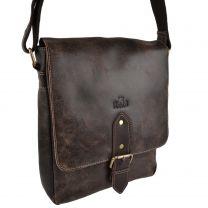 Mens Ladies Distressed Leather Messenger Bag by Rowallan Brushwood