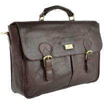 Mens Buffalo Leather Briefcase by Rowallan of Scotland; Verona Collection Classic Veg Tan