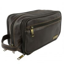 Mens Classic Leather Wash Bag by Rowallan of Scotland (Brown)