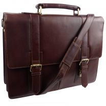 Mens Large Veg Tan Leather Briefcase by Visconti Vintage Collection