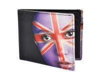 Mens Top Quality Leather Bi-Fold Wallet by Retro Union Jack Face Gift Box Golunski