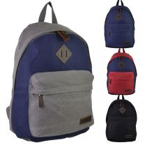 Mens Ladies CANVAS & LEATHER Backpack Rucksack by Troop of London Bag Travel