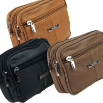 Cowhide Leather Belt Bag/Purse Man Bag by Lorenz Phone Camera 3 Zips