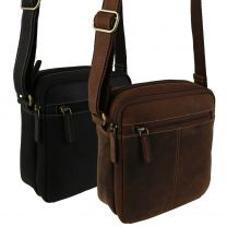 Ladies Mens Small Oiled Leather Cross Body Bag by Visconti; Merlin Travel