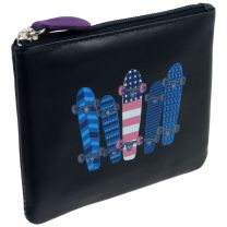 Colourful Leather Coin Purse By Mala Pinky Range Skulls Teens Boys Mens Skateboards Stars Stripes