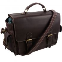 Ladies Mens PrimeHide Leather Satchel Camera Flap Over Bag Hunter Brown Oiled