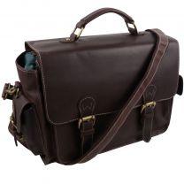 Ladies Mens PrimeHide Leather Satchel Camera Flap Over Bag Hunter Brown Oiled