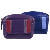 Ladies Leather Coin Purse With Integral Key Fob By Golunski Blue Or Purple