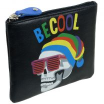 Colourful Leather Coin Purse Key Fob By Mala Pinky Range Skulls Teens Boys Mens Be Cool