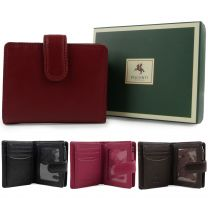 Ladies Leather Compact Tab Purse/Wallet by Visconti Heritage Collection Gift Box Handy