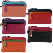 Mens Ladies Quality Soft Leather Coin Purse by Prime Hide Keyring Multi Colour