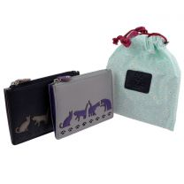 Mala Leather Womens Cats Coin Purse Poppy Collection
