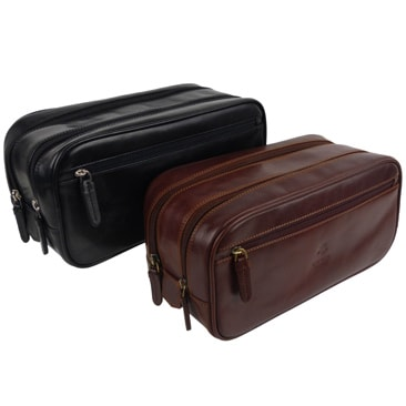 Visconti Mens Leather Wash Bag